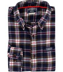 geruit overhemd superdry regular fit donkerblauw