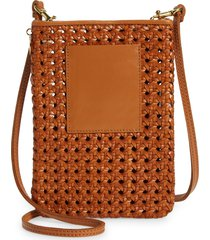 clare v. woven leather shoulder bag - brown