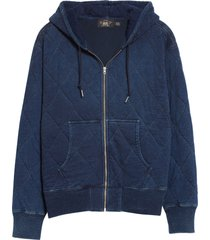 men's rrl indigo quilted jersey hoodie