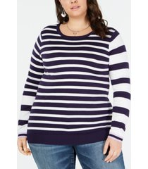 one a plus size striped sweater