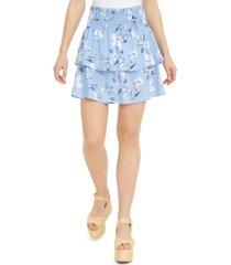 derek heart juniors' printed tiered smocked-waist mini skirt