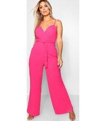 plus wrap front wide leg jumpsuit, hot pink
