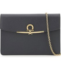 salvatore ferragamo gancini clutch with chain strap