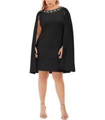 adrianna papell plus size rhinestone-embellished cape dress