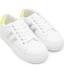tenis fashion franjas plata color blanco, talla 38