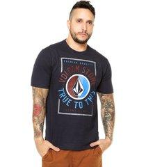 camiseta manga curta volcom marume azul-marinho - azul - masculino - dafiti