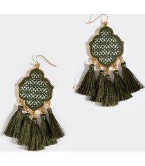 helga filigree tassel earrings - olive