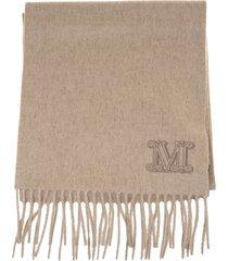max mara wsdalia scarf in dark beige cashmere