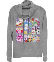 fifth sun women's alice in wonderland wonder art blocks fleece cowl neck sweatshirt