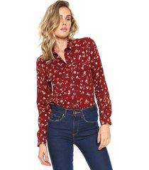 camisa facinelli by mooncity floral bolsos bordã´ - bordã´ - feminino - poliã©ster - dafiti