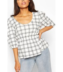 contrast flannel smock top, white