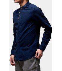 uomo camicia sciolta in lino con collo a listino a maniche lunghe di stile cinese