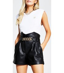 river island womens petite black pu corset chain detail shorts