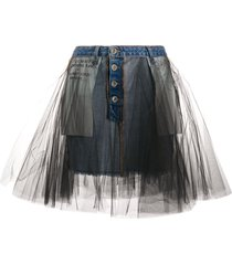 unravel project tulle-overlay skirt - blue