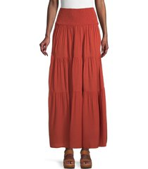 stellah women's shirred & tiered skirt - spice - size s