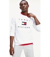 tommy hilfiger men's signature flag sweatshirt white - m