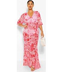 plus gebloemde chiffon kimono maxi-strandjurk, rood