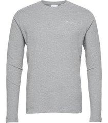 locust transfer ls tee - gots/vegan t-shirts long-sleeved grå knowledge cotton apparel