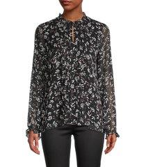 karl lagerfeld paris women's floral-print top - black - size xs