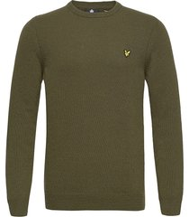 crew neck lambswool blend jumper stickad tröja m. rund krage grön lyle & scott