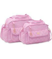 kit bolsas bebê maternidade 2 peças rosa com pingente de urso - tricae