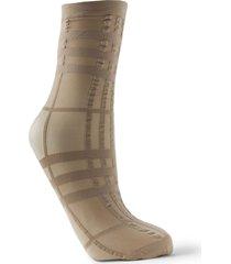 check plaid print monochromatic socks beige