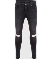 jeans brave soul negro - calce skinny