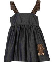 fendi blue denim dress with teddy bear
