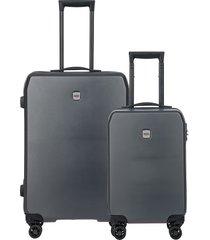 bric's mennagio two-piece suitcase set - grey