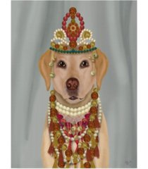 "fab funky yellow labrador and tiara, portrait canvas art - 15.5"" x 21"""