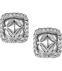 charter club silver-tone quilted square stud earrings, created for macy's