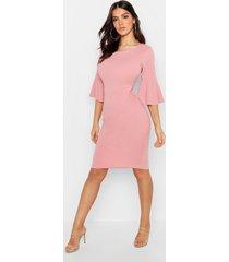 3/4 angel sleeve crew neck midi dress, soft pink