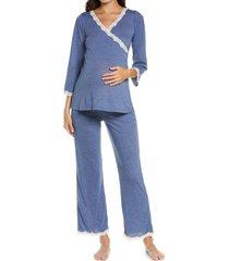 women's belabumbum lacey maternity/nursing pajamas, size 4 x - blue