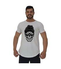 camiseta longline alto conceito caveira óculos escuro e touca branco