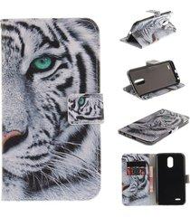 lg stylus 3 case,lg stylo 3 case,xyx [white tiger] pu leather wallet case kickst