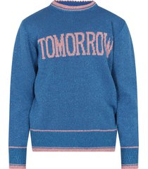 alberta ferretti azure sweater with pink writing for girl