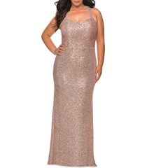 plus size women's la femme sequin trumpet gown