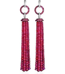 bayco 18kt white and black gold ruby and diamond tassel earrings -