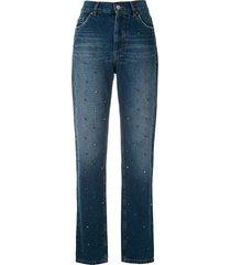 eva rhinestone-embellished straight-leg jeans - blue