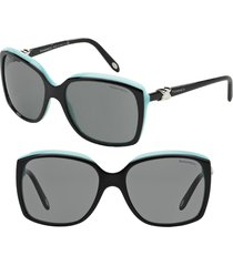 women's tiffany & co. 58mm rectangular sunglasses - black/ blue