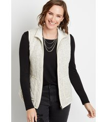 maurices womens solid knit zip up vest beige
