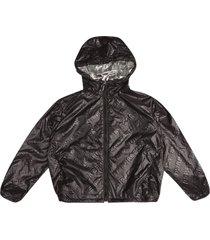 burberry embossed logo zipped hoodie