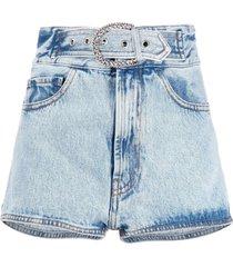 alessandra rich belted denim shorts - blue