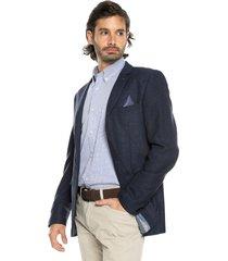 blazer azul oscuro preppy con detalle en solapa y bolsillo pecho