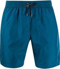 dolce & gabbana logo drawstring swim shorts - blue