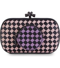 bottega veneta women's intrecciato check leather convertible clutch - purple