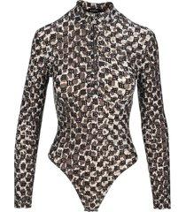 misbhv monogram quarter-zip bodysuit