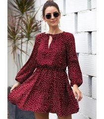 red polka dot round neck lantern sleeves ruched dress