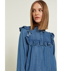 motivi vestito in denim con rouches donna blu