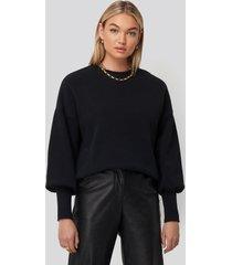 na-kd balloon 3/4 sleeve sweatshirt - black